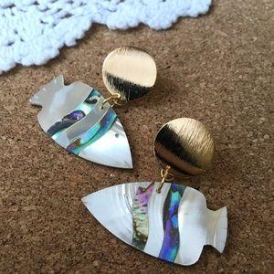 New Mother Of Pearl Fish Door Knockers Earrings
